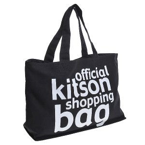 KITSON キットソン バッグ ロゴ エコ トートバッグ KHB-0167 ブラック/ホワイト at-shop