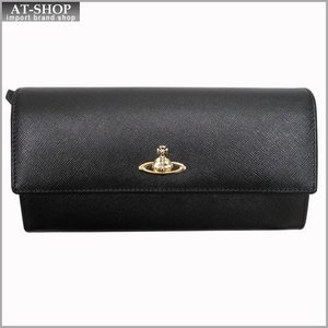 Vivienne Westwood ヴィヴィアン・ウェストウッド 財布サイフ NO,8 OPIO SAFFIANO 二つ折り長財布 32.1405 BLACK 17SS ブラック|at-shop