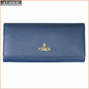 Vivienne Westwood ヴィヴィアン・ウェストウッド 財布サイフ NO,8 OPIO SAFFIANO 二つ折り長財布 32.1409 BLUE 18SS ブルー|at-shop