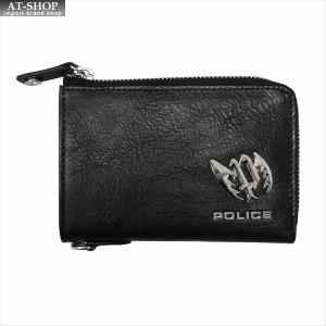 POLICE ポリス 財布サイフ カイト Lラウンドファスナー小銭入れ PLC123 BLACK|at-shop