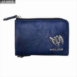 POLICE ポリス 財布サイフ カイト Lラウンドファスナー小銭入れ PLC123 BLUE|at-shop