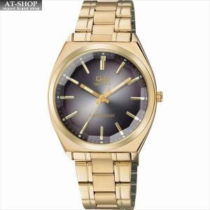 CITIZEN シチズン 腕時計 Q&Q カットガラス クラシック メンズ時計 QB78-002 ブラック/ゴールド|at-shop