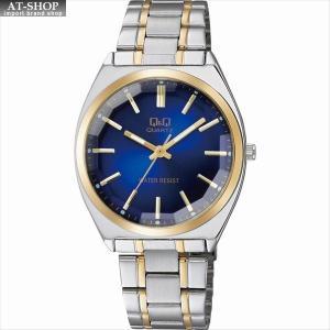 CITIZEN シチズン 腕時計 Q&Q カットガラス クラシック メンズ時計 QB78-412 ブルー/コンビ|at-shop