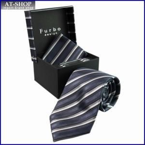 Furbo フルボ ネクタイ タイバー カフス チーフ 4点セット 約8.5cm ストライプ柄 グレー系 SM1033color4-733487-448|at-shop
