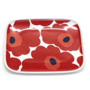 マリメッコ  UNIKKO PLATE 12X15cm ウニッコ柄 スクエアプレート 皿 063436 001 white/red|at-shop