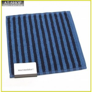 マリメッコ UJO MINI TOWEL 25cm×25cm 064393 550 blue/dark blue ボーダー柄 ミニタオル|at-shop