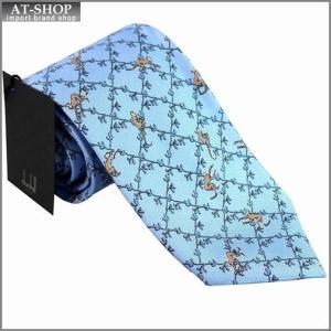 DUNHILL ダンヒル ネクタイ 約8cm 猿柄 ブルー yptp1 yp2500r|at-shop