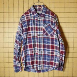 C&A パープル チェック ネルシャツ 長袖シャツ メンズXS相当 ヨーロッパ古着|ataco-garage