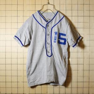 Russell Atletic USA製 60s 両面プリント ベースボールシャツ グレー メンズS相当 古着 ラッセル 野球|ataco-garage