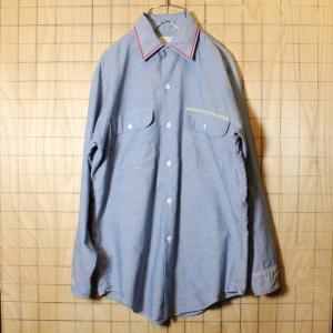 古着 70s USA製 BIGMAC 刺繍 シャンブレー ワーク シャツ ライトブルー メンズM相当 JCPenney リメイク ss61|ataco-garage