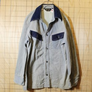 USA製 Sears 70s 古着 デニム シャツ ジャケット 長袖 メンズM メタルボタン ブルー シアーズ ataco-garage