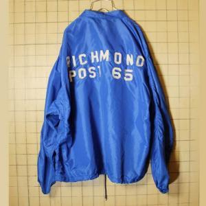 60s USA製 RUSSELL SOUTHERN ナイロン コーチジャケットブルー メンズXL ワッペン RICHMOND POST 65 ラッセルアスレチック 古着|ataco-garage