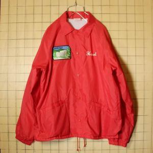 USA製 Cardinal ナイロン コーチジャケット ワッペン レッド メンズM 刺繍 ライナー付き 古着|ataco-garage