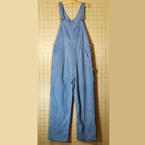 70s 80s USA製 古着 デニム オーバーオール Sears シアーズ ブルー  W38 ボタンフライ ataco-garage