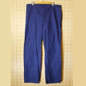 70s-80s euro ドイツ ヘリンボーン ワークパンツ ネイビー 濃紺 メンズ38インチ相当 フランス ペインター 021319ss161|ataco-garage
