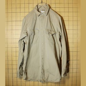 80s 90s カーハート carhartt チノクロス ウエスタン ワークシャツ 長袖 メンズL相当 アウトドア 古着|ataco-garage