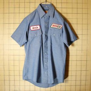 USA製 REDKAP レッドキャップ シャンブレー ワークシャツ 半袖 webco ワッペン メンズS ブルー 古着 021319ss83|ataco-garage