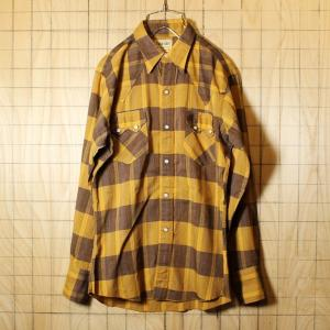 USA製 60s WASHINGTON DEE-CEE ウエスタン チェック シャツ 古着 オレンジ ブラウン 開襟 メンズS相当 ビンテージ ライトフランネル|ataco-garage