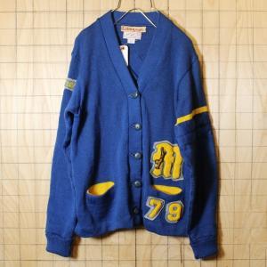 USA製 50s-60s ビンテージ 古着 ウール レタード カーディガン ブルー ワッペン メンズS相当 LASLEY KNITTING|ataco-garage