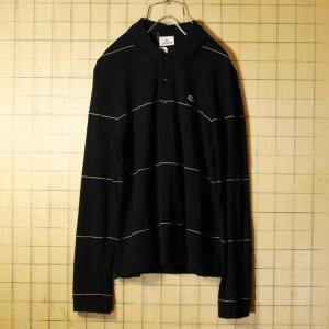 フレンチラコステ Lacoste 長袖 ポロシャツ ブラック 黒 レディースSM相当 ボーダー ワンポイント ヨーロッパ古着|ataco-garage