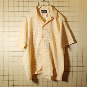 60s Classic Casuals ビンテージ オープンカラー チェック 半袖 ボックスシャツ オレンジ メンズM 開襟 古着|ataco-garage