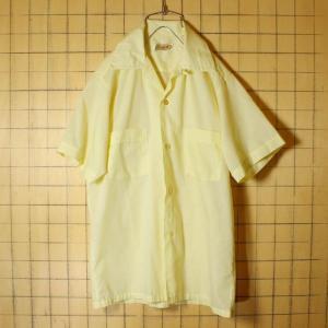 USA製 60s CrestField 半袖 ボックス オープンカラー シャツ イエロー ライトフランネル メンズS 開襟 ビンテージ 古着|ataco-garage