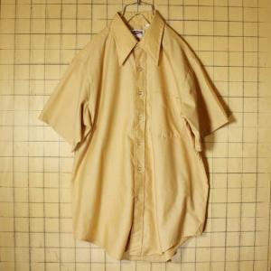 USA製 60s-70s CAMPUS 半袖 シャツ ベージュ ライトフランネル メンズM相当 ビンテージ 古着 042419ss109|ataco-garage
