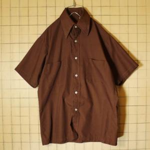 60s 70s Sears 半袖 ボックスシャツ ブラウン ライトフランネル メンズS 日本製 ビンテージ 古着 042419ss112 ataco-garage