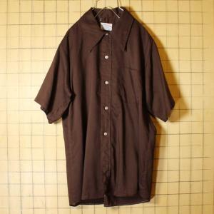 USA製 60s 70s DONLIN 半袖 ボックスシャツ ブラウン ライトフランネル メンズL ビンテージ 古着 042419ss113|ataco-garage