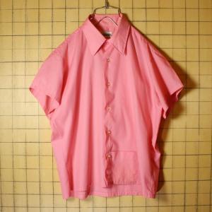 USA製 60s Manhattan 半袖 ボックスシャツ ピンク ライトフランネル メンズM相当 ビンテージ 古着 042419ss114|ataco-garage