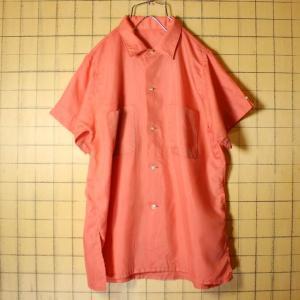 USA製 60s 半袖 ボックスシャツ ピンク ライトフランネル メンズS相当 ビンテージ 古着 042419ss115|ataco-garage