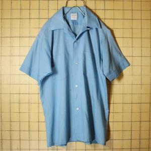 60s VAN HEUSEN 半袖 オープンカラー ボックスシャツ ライトブルー ライトフランネル メンズS ビンテージ 開襟 古着 042419ss119|ataco-garage