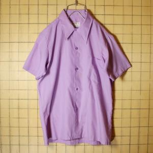 MONTGOMERY WARD 60s 70s 半袖 ボックスシャツ パープル ライトフランネル メンズS相当 ビンテージ 古着 042419ss122|ataco-garage