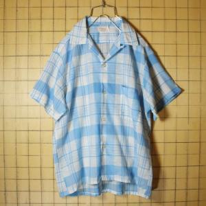 60s MATT Andrews ビンテージ オープンカラー チェック 半袖 ボックスシャツ ライトブルー メンズM 開襟 古着|ataco-garage