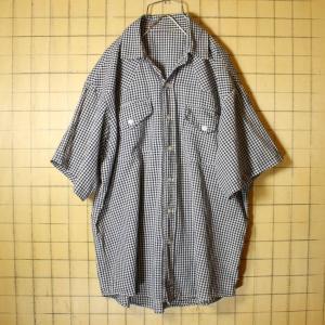 60s 70s 半袖 ギンガムチェック オープンカラー シャツ ブラック ホワイト メンズL相当 古着 カットオフ リメイク 042419ss135|ataco-garage