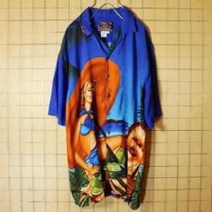 全面プリント アロハ ハワイアン レーヨン シャツ 女性 水着 ブルー メンズS 半袖 古着 イチゴ パイナップル BASIX|ataco-garage