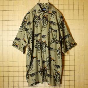 puritan オウム 鳥総柄 アロハ ハワイアン レーヨン ボックス シャツ カーキ グリーン メンズS  半袖 古着|ataco-garage
