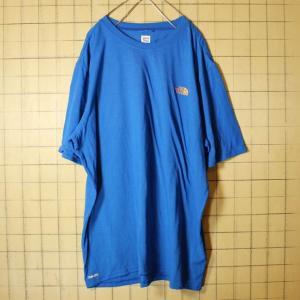 The North Face ノースフェイス ロゴ プリント Tシャツ 半袖 ブルー メンズXL 古着 インナー VaporWick|ataco-garage