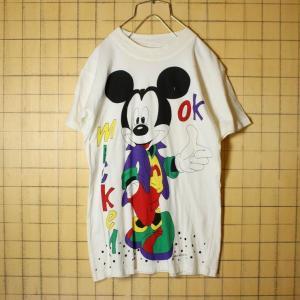 ヨーロッパ ミッキーマウス Tシャツ mickey OK 半袖 ホワイト レディースM相当 WALT DISNEY CO 古着 ataco-garage