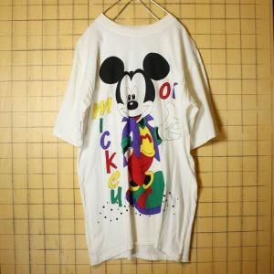 ヨーロッパ ミッキーマウス Tシャツ mickey OK 半袖 ホワイト メンズML相当 WALT DISNEY CO 古着 ataco-garage