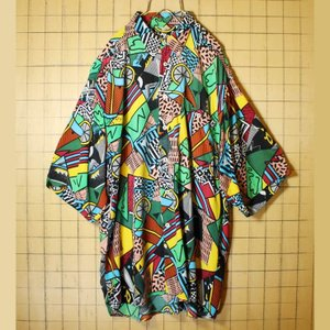 80s euro ヨーロッパ デザイン 古着 幾何学模様 レーヨン ボタンダウン シャツ 半袖 総柄 ブラック メンズXL相当 ビッグサイズ ataco-garage