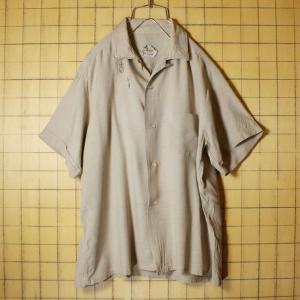 60s BRENT ビンテージ オープンカラー ボックスレーヨンシャツ ベージュ メンズL 刺繍 無地 開襟 半袖 古着 MONTGOMERY WARD|ataco-garage