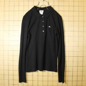 フレンチラコステ Lacoste ワンポイント ポロシャツ 長袖 ブラック レディースML相当 フランス企画 古着 ss11|ataco-garage