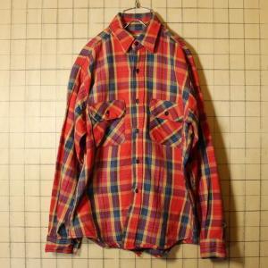 FIVE BROTHER ヘビー ネルシャツ USA製 70s-80s 古着 レッド イエロー チェック ワーク メンズM ダメージ|ataco-garage