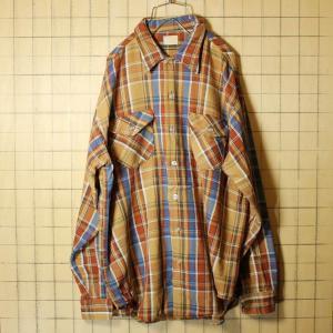 OSHKOSH ヘビー ネルシャツ USA製 60s ビンテージ 古着 ブラウン ブルー チェック ワーク メンズL ダメージ|ataco-garage