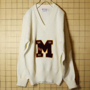 70s EAST-TENN アクリル ニット レタード セーター メンズM相当 ホワイト ビンテージ 古着 ataco-garage
