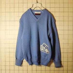 50s-60s GREWE ニット レタード セーター メンズXS相当 レディースSM相当 スモーキーブルー ビンテージ 古着|ataco-garage