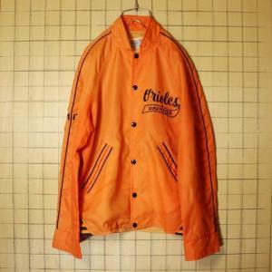 60s USA製 HARV-AL SPORTSWEAR ナイロン ジャケット スタジャン オレンジ メンズM相当 Orioles DRUMMER 刺繍 古着|ataco-garage