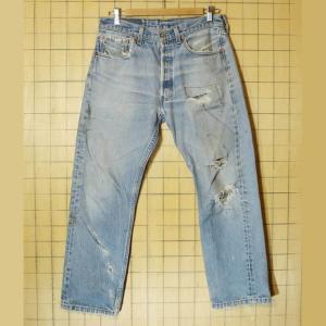 USA製 古着 Levis リーバイス 501XX クラッシュ ジーンズ デニム パンツ ブルー W33 070319ss127|ataco-garage