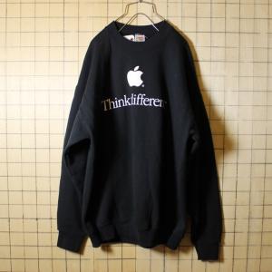 古着 apple アップル Think different プリント スウェット ブラック トレーナー メンズXL マック mac Fruit of the Loom|ataco-garage